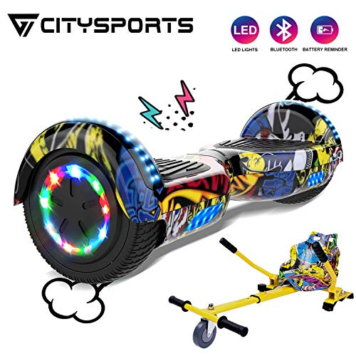 CITYSPORTS Hoverboard 6,5 Zoll Bluetooth Overboard, Elektro Scooter Self-Balance Board 350W*2 Motor mit LED-Blitzrädern