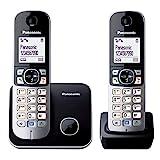 Panasonic KX-TG6812GB DECT Schnurlostelefon DUO ohne Anrufbeantworter (strahlungsarm, Eco-Modus, GAP Telefon, Festnetz, Anrufsperre) schwarz