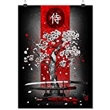 Samurai Cherry Blossom Posters Print Posters Teen Room decorpainting canvaseshome roomart decorUnframe-style1 20×30inch(50×75cm)