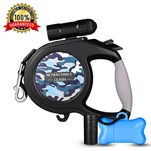 Retractable Dog Leash, 26 ft Dog Walking Leash for Medium Large Dogs up to 110lbs, LED Light &Dog Waste Dispenser Bags Included, Tangle Free, One Button Break & Lock, Blue Pattern