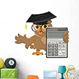 Wallmonkeys Owl Teacher Holding Calculator Wall Decal Peel and Stick Educational Graphics (48 in W x 41 in H) WM340150