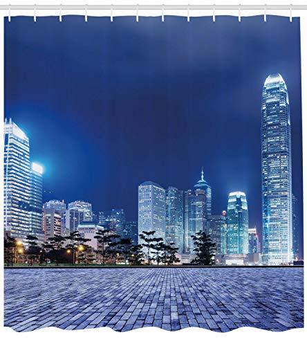 123456789 Urban Duschvorhang Hong Kong Skyline Nachtdruck für Badezimmer