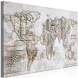 murando Cuadro en Lienzo Mapamundi 90x60 cm Impresión de 1 Pieza Material Tejido no Tejido Impresión Artística Imagen Gráfica Decoracion de Pared - Continentes Map Worldmap Retro k-A-0502-b-a
