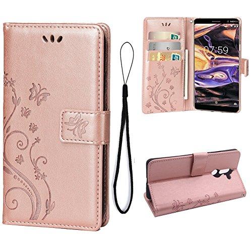 Teebo Custodia Cover per Nokia 7 Plus, Custodia a Portafoglio in Pelle PU Premium con Porta ID e Porta Carte di Credito con Supporto Chiusura Magnetica, Oro Rosa