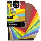 OfficeTree A4 Bastelkarton 300g - 12 Farben - 54 Blätter - Pappe zum Basteln - Fotokarton A4 300g