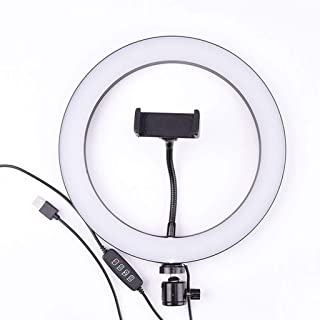 DFYYQ LED Floor Ring Light with Tripod USB Charging 3 Kinds of Light Mode Fill Light Network Live Selfie Lamp Flashes Color : E