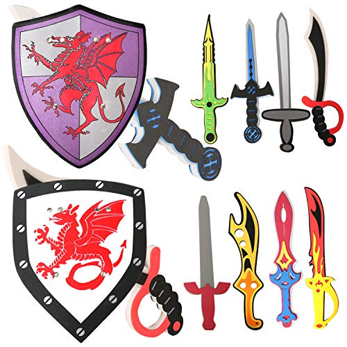 Foam Sword and Shield Weapons for Kids - Kids Foam Swords and Shields Pretend Play Toy Set for Boys - 10 Sets Ninja Weapons Playsets for Kids - Kids Indoor Outdoor Toy Gift for Boys and Girls