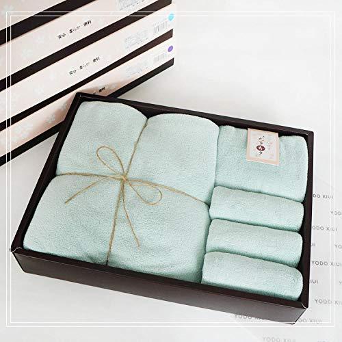KATOEN HANDDOEKEN BAD CADEAU SET,Coral fleece handdoek handdoek vierkant vijfdelige geschenkverpakking,groen,100% biologisch katoenen badlakens