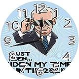時計 壁掛け時計アナログクロックインテリア円形 静音 ジョーバイデンマイタイム2020選挙大統領キャンペーン印刷 掛置兼用フラットフェイス 家寝室居間 直径25cm 部屋装飾