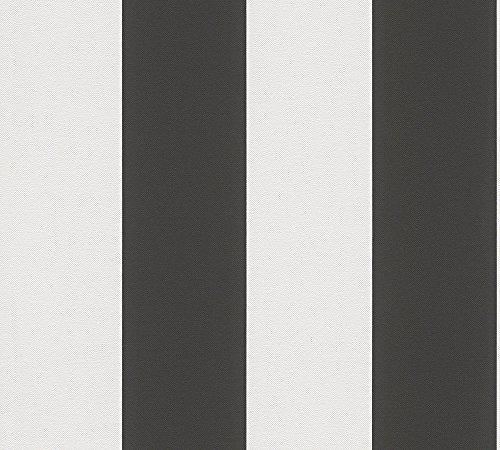 A.S. Création Vliestapete Elegance Tapete Streifentapete 10,05 m x 0,53 m schwarz weiß Made in Germany 334213 3342-13
