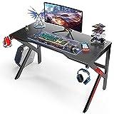 Mesa para Ordenador 120 CM, Mesa Gaming Mesa de Juegos para Ordenador Portátil Gaming, Escritorio de Oficina con Soporte de Controlador, Posavasos y Gancho para Auriculares