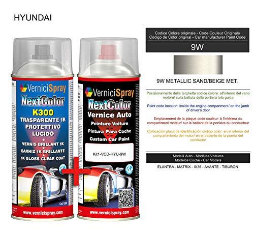 Kit Vernice Auto Spray 9W METALLIC SAND/BEIGE MET. e Trasparente Lucido Spray - kit ritocco vernice metallizzata 400+400 ml di VerniciSpray