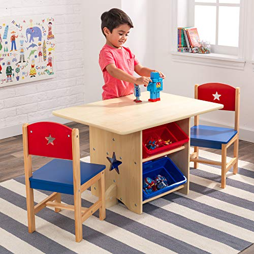 A kids play table with storage is a good idea for toy storage furniture in a small kids bedroom