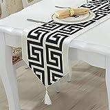 VDYXEW Camino de mesa moderno beige, 33 x 180 cm, decoración de mesa...