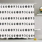 N\A Ahawoso Duschvorhang Set mit Haken Nahtlose grafische kosmische Tintenphasen Fleckenform Mondphasenmuster Element Naturfarbe Texturen Wasserdichtes Polyestergewebe Baddekor für Badezimmer
