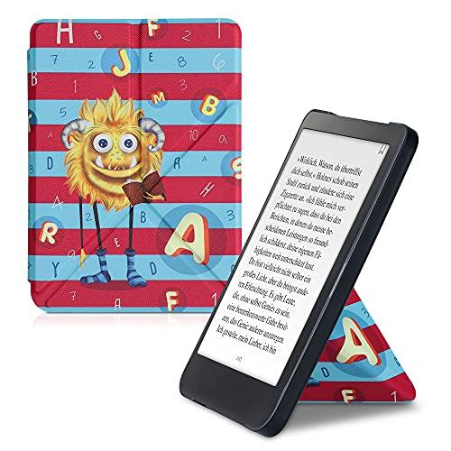kwmobile Carcasa Compatible con Kobo Clara HD - Funda magnética de Origami para e-Book - Monstruo de Las Letras Amarillo/Azul Claro/Rosa Fucsia