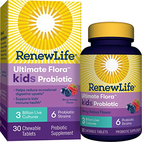 Renew Life Kids Probiotics 3 Billion CFU Guaranteed, 6 Strains, Shelf Stable, Gluten Dairy & Soy Free, 30 Chewable Tablets, Ultimate Flora Kids Probiotics Berry-licious (Packaging May Vary) Image