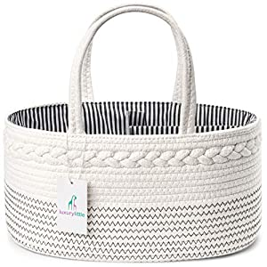 Luxury Little Baby Diaper Caddy Organizer – Rope Nursery Storage Bin for Boys and Girls – Large Tote Bag & Car Organizer with Removable Inserts – Baby Shower Gift Basket – Newborn Registry Must Haves
