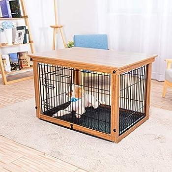 Chenils Cages Cage for Chien De Grande Clôture for Chien Clôture Extérieure Cage en Fer Forgé en Bois Massif avec Plateau Support De Plancher Cages (Color : Brown, Size : 64 * 52 * 58cm)