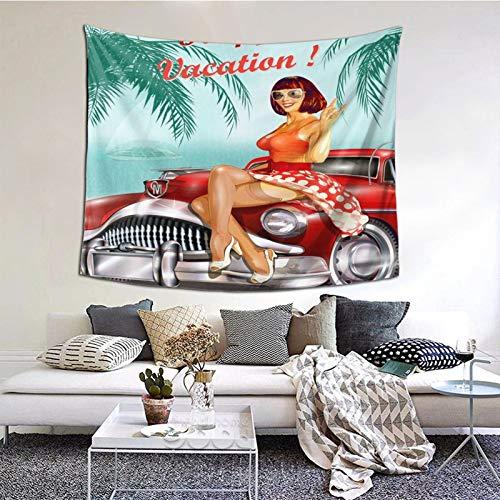 Tapiz de Pared,Beauty and Retro Cars Tapestry (Colgante de Pared) Decoración de Pared Mural del hogar para Dormitorio Sala de Estar 152cmx130cm