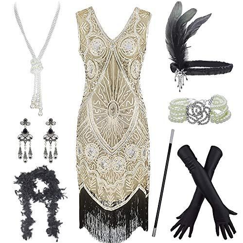 Roaring 20s Gatsby - Conjunto de vestido con cuello en V y accesorios para mujer - Dorado - Large