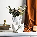 Funsoba Ceramics Statue Flower Vase Face Pots Bust Head Shaped for Birthday Gifts Home Office Decoration