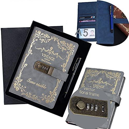 Retro Pu Notebook Código Libro Con La Cerradura(Patrón De Flores), A5 Password Notebook Contraseña Bloc De Notas Secret Diary Sketchbook Organizador Con Cerradura De Combinación