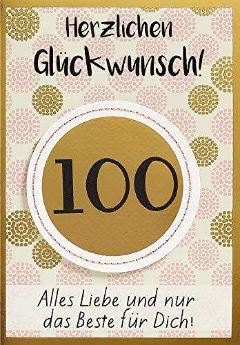 Geburtstagskarte zum 100. Geburtstag Lifestyle - Muster - 11,6 x 16,6 cm
