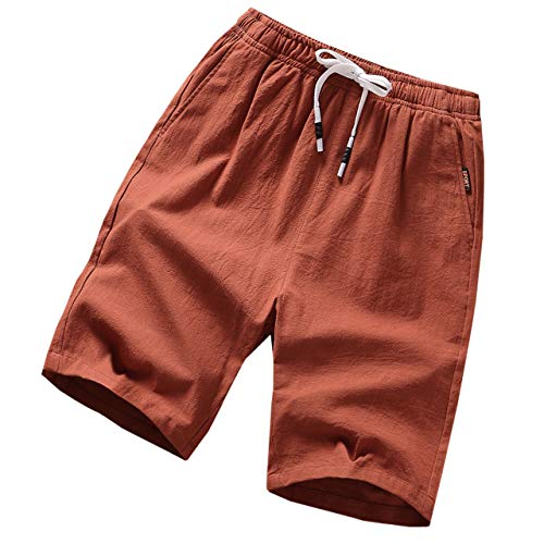 GUNLIRE Big Boy's Linen Shorts Summer Drawstring Elastic Waist Casual Shorts for Boys with Pockets,Brick Red,10