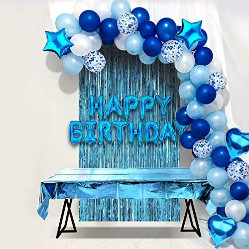 JOYYPOP Blue Birthday Party Decorations Set with Happy Birthday Balloons Banner, Confetti Balloons, Foil Fringe Curtain for Baby Shower Birthday Party Supplies