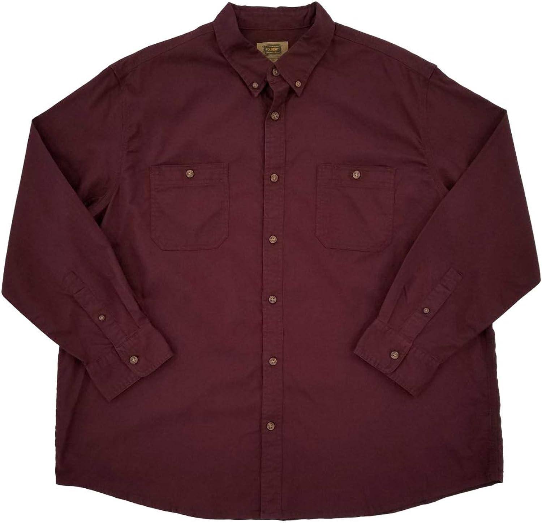 The Foundry Mens Big & Tall Burgundy Casual Button-Down Long Sleeve Shirt