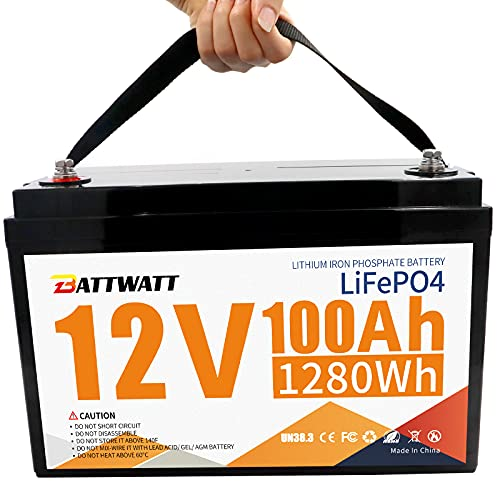 12V 100Ah Lithium LiFePO4 Deep Cycle Battery, Built-in Bluetooth 100A BMS, 4000+ Cycles, 10-Year Lifetime, for RV, Boat, Golf Cart, Car, Solar Power Backup, Marine, Off-grid, replace for SLA/AGM