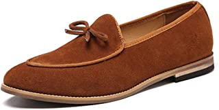 XinQuan Wang Leisure Oxfords for Men Bowknot Loafers Slip on Suede Rubber Sole Pointed Toe Low Heel Wood-Like Sole Solid Color Stitching Non-Slip (Color : Yellow, Size : 6.5 UK)