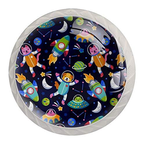 Perillas de gabinete de cocina Perilla decorativa redondas Armario Armario Cajones Cómoda Tirador 4PCS Colorful Galaxy