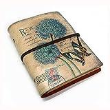 NectaRoy Retro Vintage Cuero Cuaderno Diario Notebook, Vintage Traveler Portátil, Rellenable, Diario Planificador con Papel Blanco y Bolsillo...