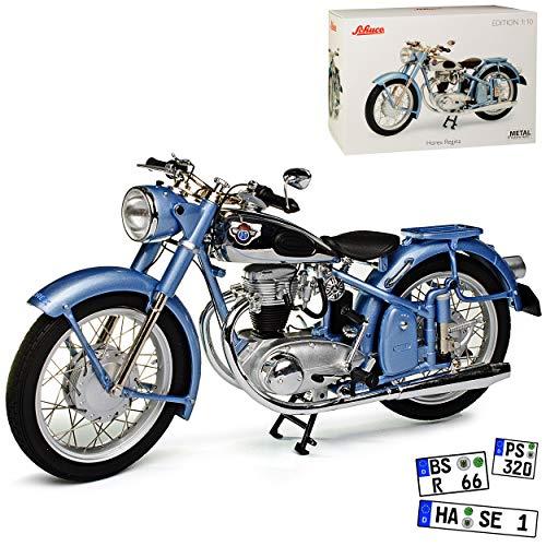 Horex Regina Silber Blau Metallic 1949-1956 1/10 Schuco Modell Motorrad mit individiuellem Wunschkennzeichen