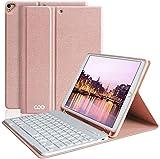 AMZCASE Tastatur Hülle 10.2 für (9/8/7 Generation-2021/2020/2019)-iPad Air 3, Hülle für iPad Pro 10.5 2017 mit Abnehmbarer drahtloser Bluetooth-Tastatur-Hülle mit Stifthalter(Champagner)