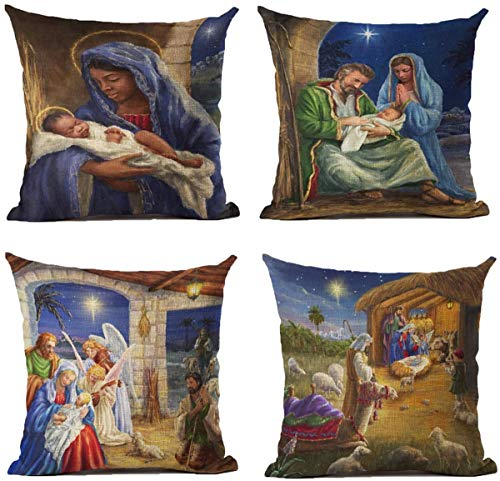 Christmas Throw Pillow Covers 18x18 Inch Set of 4 Religious Outdoor Pillowcases Home Decorative Square Cotton Linen Cushion Cases for Couch Sofa Bed Breathable Linen with Hidden Zipper