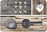 Venilia Tischset Platzset für Esszimmer, 4er Set abwischbar Polypropylen, lebensmittelecht 45 x 30 cm, 4 Stück, 59081, Kunststoff, Country Key of Love Braun, Muster - 2