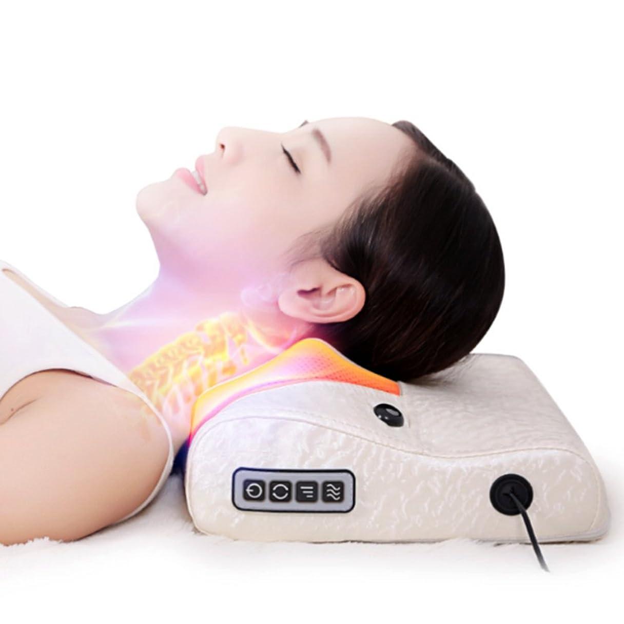 崩壊清める利点【LeaTherBack】家庭用電気マッサージ頚椎マッサージャーこね枕首肩多機能保健介護頚枕 マッサージイ