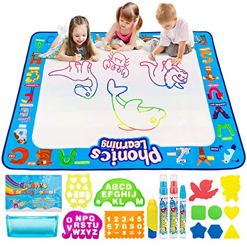 Toddler Toys, Aqua Magic Doodle Mat 40 X 32 inches Kids Water Doodle Drawing Board Toys for Toddler ,Mess-Free Preschool Educational Puzzle Toys for Boys Girls Toddlers Age 3 4 5 6 7 8 Year-Old