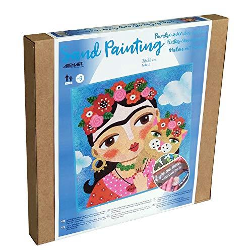 Arenart | 1 Lámina Frida Kahlo 38x38cm | para Pintar con Arenas de Colores | Manualidades para Adultos y Jóvenes | Dibujo Fácil ✅