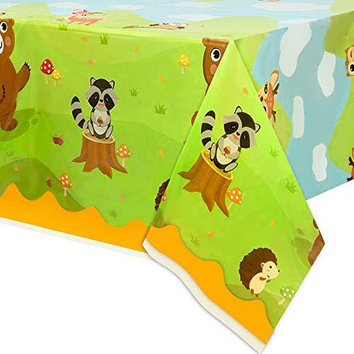 WERNNSAI Wald Tiere Tischdecken - 2 Stücke 274 x 137 cm Rechteckige Einweg Tischdecken Eulen Fuchs Hirsch Bär Waldwilde Tiere Partyzubehör für Kinder Geburtstag Baby Shower