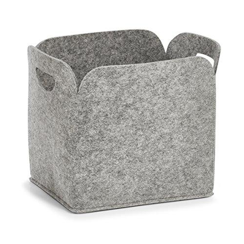 Zeller 14366 Aufbewahrungskorb, hoch, Filz, grau, ca. 30 x 24 x 30 cm