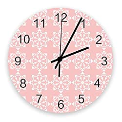 Fandim Fly Wall Clock Battery Operated Non-Ticking,Pink Antique Damask Flowers Boho Pattern 11.8 inch Frameless Round Wood Wall Clocks for Kitchen School Bathroom Living Room