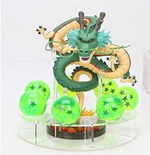 MSC Toy Figura Dragon Shenron PVC Dragon Ball Z + 7 Bolas de Dragon Verde 3,5 cm diametro + Estante Expositor MWC DBZ Figuras acción Juguetes Goku Dragon Ball Super Espectacular Akira