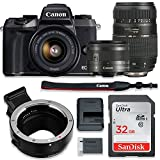 Canon EOS M5 Mirrorless Digital Camera (Black) Bundle w/Canon EF-M 15-45mm is STM & Tamron 70-300mm Di LD Lenses + Auto (EF/EF-S to EF-M) Mount Adapter + Basic Camera Kit