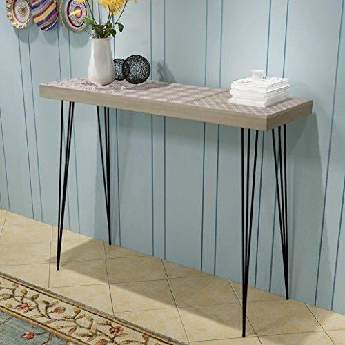 Festnight Mueble de Consola Mesa Materia de MDF + Acero para Salón Habitación 90 x 30 x 71,5 cm Color Gris