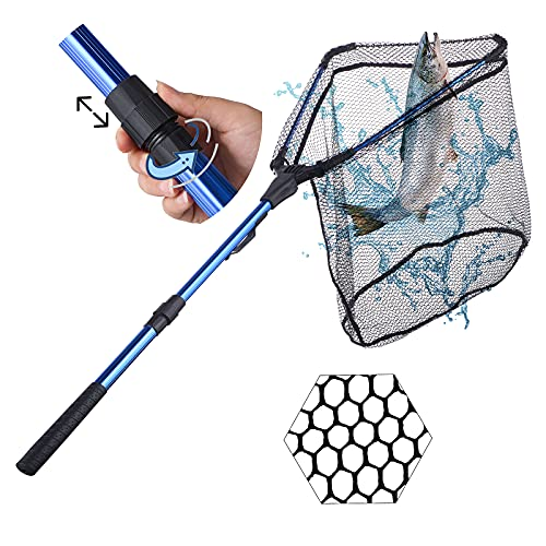 LineRike Fishing Net Fish Landing Net,Folding Collapsible Fishing Nets with Telescopic Pole Handle, Durable Rubber Coating Knotless Mesh, Safe Fish Catching and Releasing for Freshwater and Saltwater