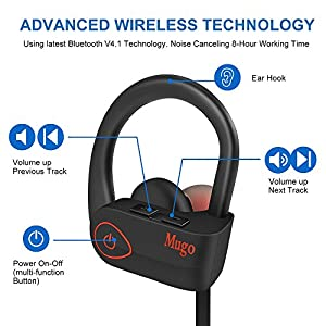 Wireless Headphones Bluetooth Earbuds Waterproof IPX7 Noise Cancelling In Ear Headphones With Mic Deep Bass Sleep HiFi Stereo Bluetooth Earphones Running 9-10 Hours